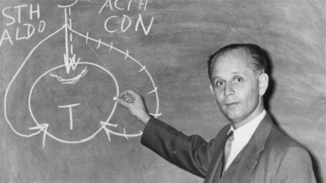 Hans Selye expliquant le schéma du stress