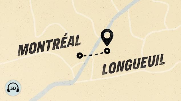 Carte illustrant la distance parcourue par les protagonistes entre Montréal et Longueuil