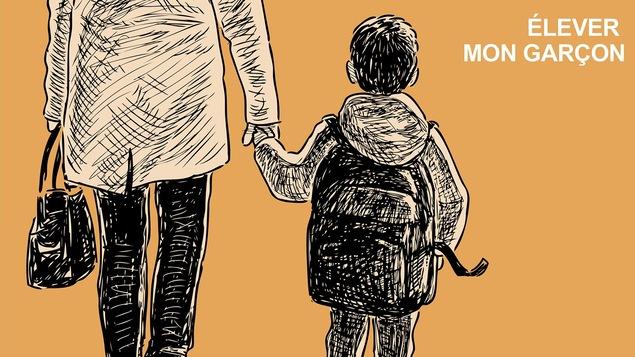 Illustration d'un jeune garçon tenant la main de sa mère. Ils sont de dos et semblent marcher à l'extérieur.
