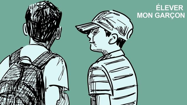 Illustration de deux jeunes garçons de dos. L'un porte un sac à dos, l'autre une casquette.
