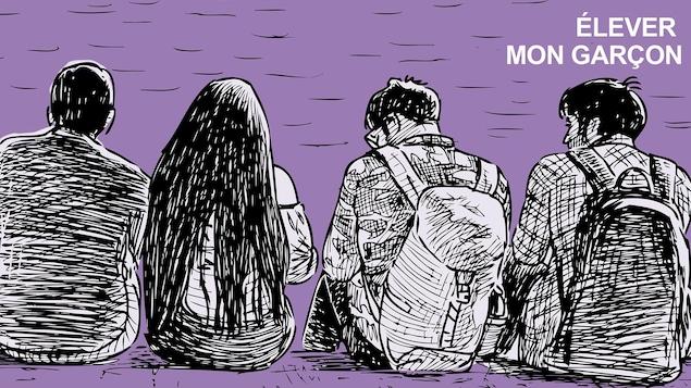Illustration d'un groupe de jeunes, garçons et filles, assis avec des sacs à dos.