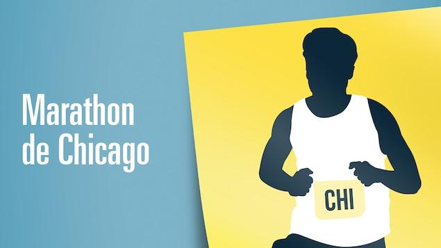 Illustration d'un homme qui court avec un dossard avec l'inscription « Marathon de Chicago »