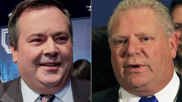 Photo-montage de Jason Kenney et Doug Ford