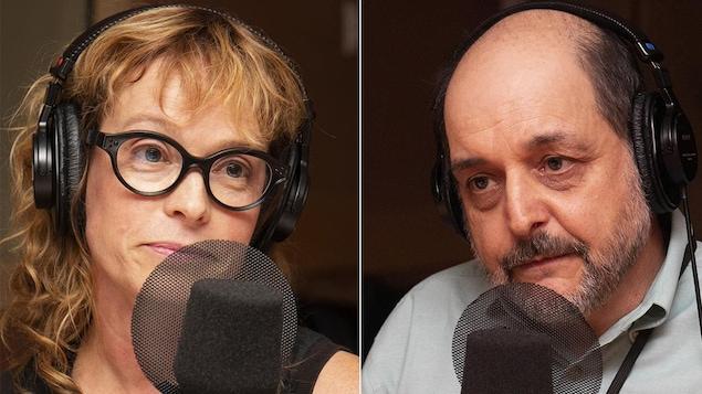 Martine Delvaux et Benoît Melançon devant un micro.