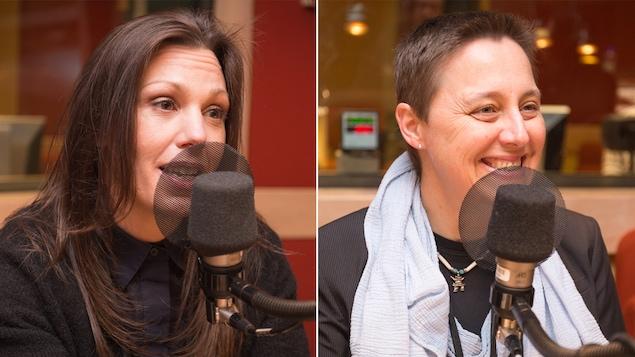 Un montage de deux photos montrant respectivement Marie-Ève Rancourt et Marie-Jean Meurs en train de parler au micro dans le studio de l'émission La sphère.