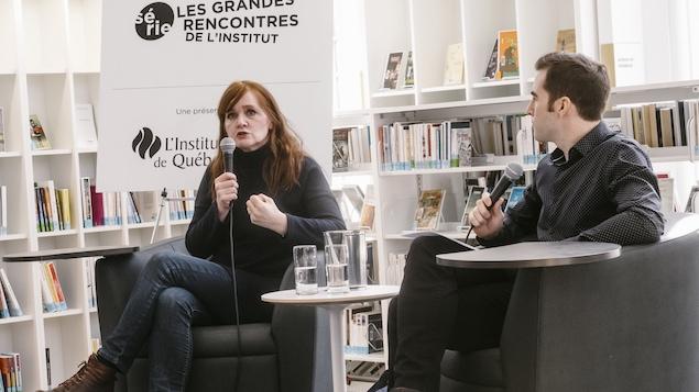 L'écrivaine islandaise Audur Ava Olafsdottir et le journaliste David Desjardins
