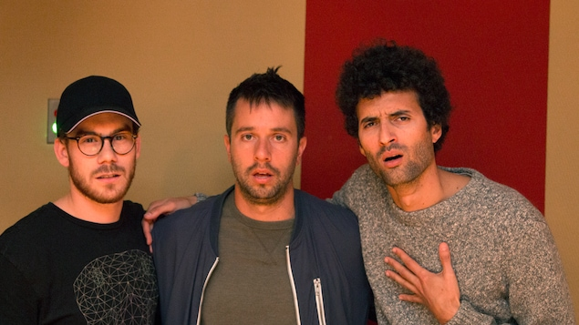 Alexandre Bisaillon, Alexandre Barrette et Alex Fredo au studio 25 de Radio-Canada