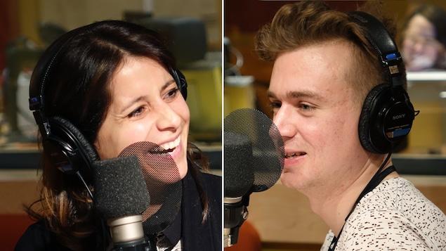 Anaïs Favron et Arnaud Soly sourient pendant l'enregistrement des <i>Petites anecdotes</i>.