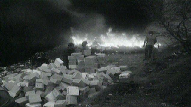 Des hommes brûlent des caisses de margarine illégale avant 1961.