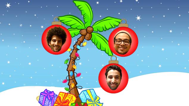 Les visages d'Alex Fredo, de Mehdi Bousaidan et de Reda Saoui dans des boules de Noël qui ornent un palmier.