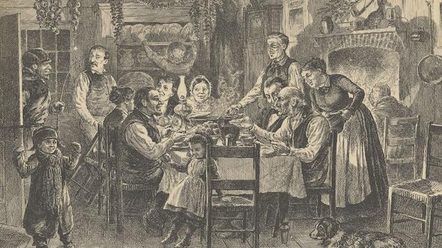 Une coupure de presse du 19e siècle montrant une fête du réveillon de Noël au Bas-Canada.