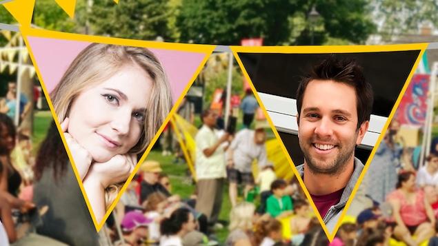 Rosalie Vaillancourt et Alexandre Barrette sourient devant une foule dans un parc