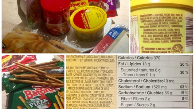 Un montage photos avec des exemples de produits transformés, surremballés, une liste d'ingrédients dont du glucose, du sucre et de l'huile de canola et la liste des valeurs nutritives dont 1520 mg de sodium soit 63 % des apports quotidiens