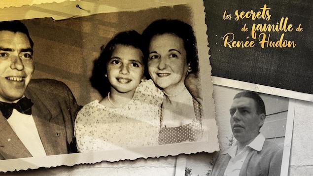 Deux photos montrant Renée Hudon et ses parents sur la première, et son père tout seul, sur la seconde.