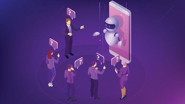 Quelques personnes échangent avec un robot qui semble sortir d'un téléphone cellulaire.