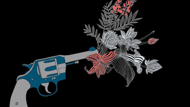 Des fleurs de couleurs sortent d'un pistolet.