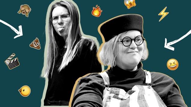 Montage montrant chanteuses Lydia Képinski et Safia Nolin sur un fond vert foncé avec des emojis volants autour d'elles.