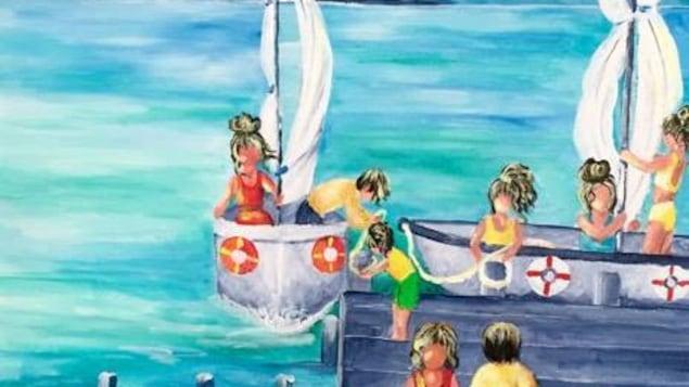 Toile peinte par Carole Caron, illustrant des gens sur un quai qui amarrent deux voiliers.