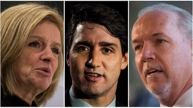 Un collage avec de gauche à droite un portrait de Rachel Notley, Justin Trudeau et John Horgan.