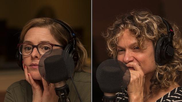 les deux femmes sont attentives aux propos de Marie-Louise Arsenault