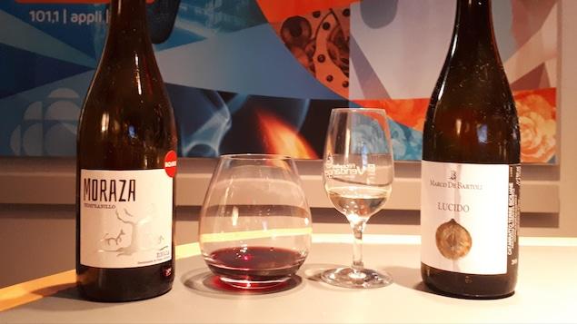 Un vin blanc de la Sicile et un vin rouge de l'Espagne