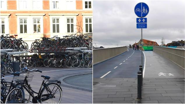 Des vélos et des pistes cyclables à Copenhague