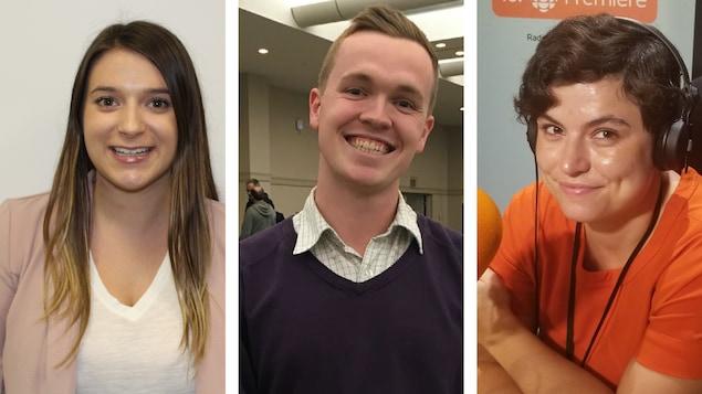 Montage photo de Cassidy Villeneuve, Chris Reid et Nadine Tkatchevskaia sont trois jeunes partisans millénariaux qui partagent leurs réflexions sur la campagne électorale.