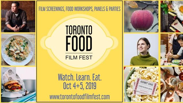 Affiche du Toronto Food Film Fest qui présente des phots de chefs et de plats et le logo de l'événement en forme de citron.