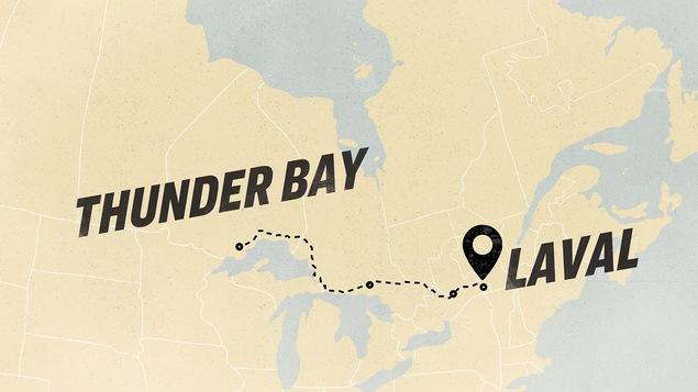 Le tracé d'un trajet sur une carte de Thunder Bay, en Ontario jusqu'à Laval au Québec.