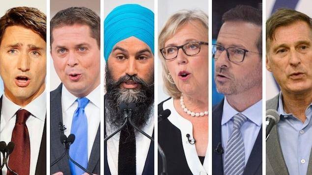 Montage montrant les visages des six chefs des principaux partis politique au fédéral lors d'un débat.