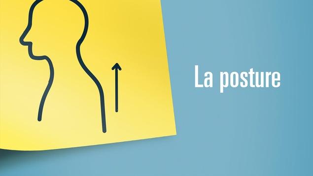 Illustration représentant la posture: une silhouette de profil et une flèche vers le haut en guise d'incitation à se tenir droit