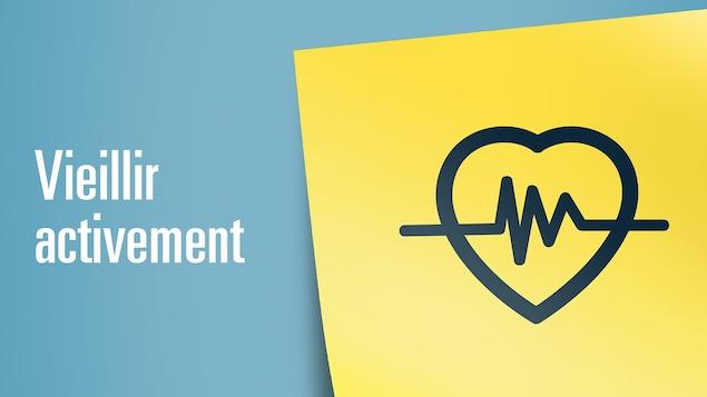 Illustration pour représenter le thème Vieillir activement : un coeur avec une ligne de fréquence cardique