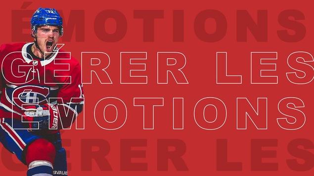 Max Domi sur fond rouge avec libellé « Gérer les émotions ».