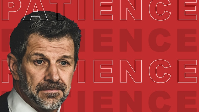 Marc Bergevin sur fond rouge avec le libellé « Patience »