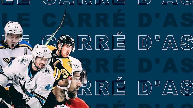 """Photos des joueurs Tarasenko, Vlasic, Marchand et Williams sur fond bleu avec le libellé """"Carré d'as""""."""