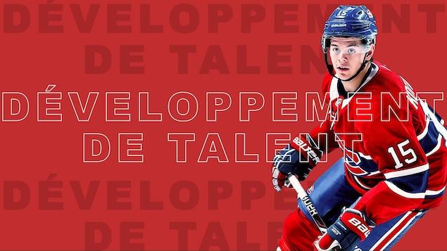 Jesperi Kotkaniemi sur fond rouge avec le libellé « développement de talent ».