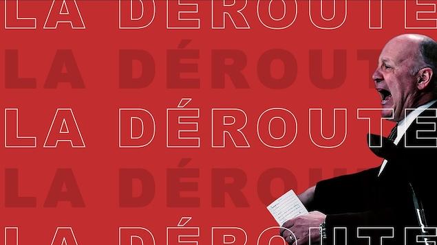 """Claude Julien sur un fond rouge avec le libellé """"La déroute"""""""