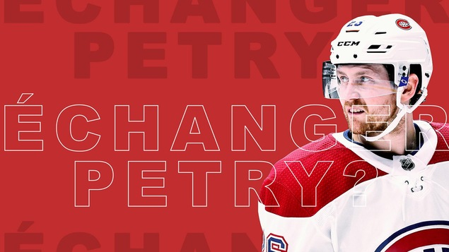 Jeff Petry en uniforme du Canadien sur fond rouge avec le libellé: « Échanger Petry? »