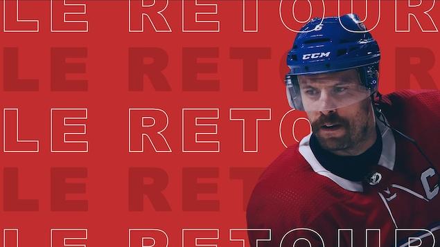 """Shea Weber sur fond rouge avec libellé """"Le retour"""""""