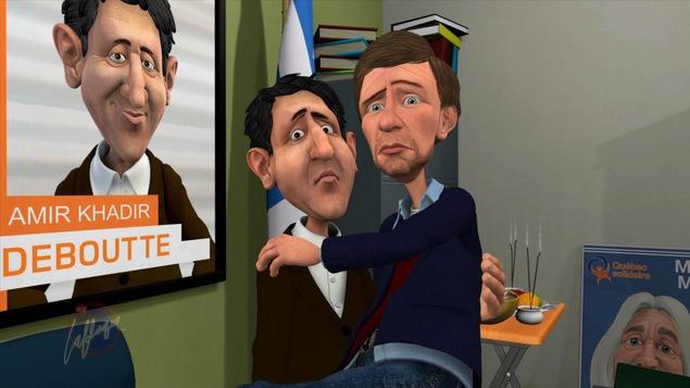 Les personnages animés d'Amir Khadir et de Gabriel Nadeau-Dubois s'enlacent. Tous les deux ont les yeux apeurés.