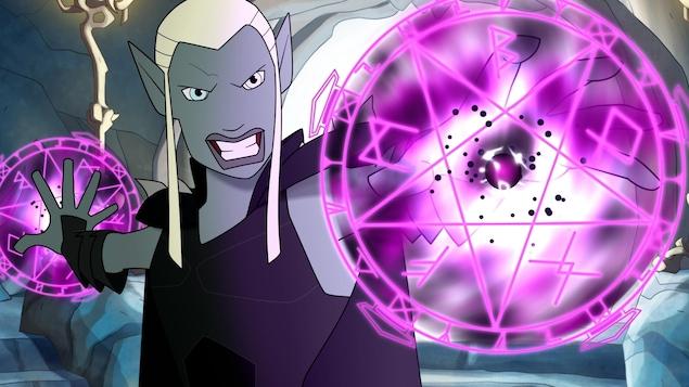 un puissant magicien  elfe avec ses deux boules de magie rosée