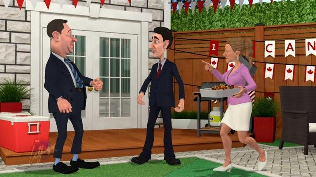 Les personnages animés d'Andrew Scheer, de Justin Trudeau et de Sophie Grégoire discutent dans la cour du premier ministre du Canada.