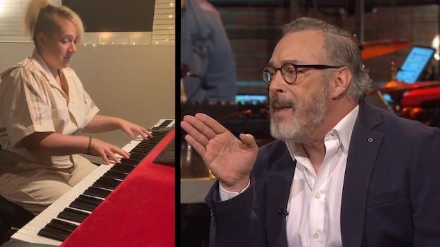 Image divisé en deux : à gauche, Julie Lamontagne au clavier; à droite, Serge Denoncourt chiale lors d'une chronique.