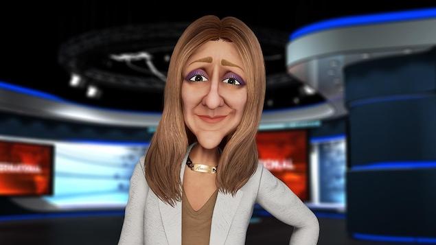 Elle est représentée en dessin animé, dans la salle de nouvelles.