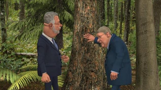 Le premier ministre et le ministre jouent à la cachette dans une forêt.