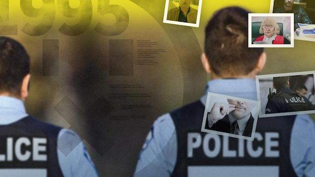 Une photo avec 2 policiers de dos