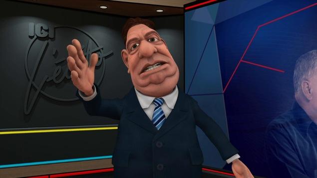 Le personnage animé de Gérard D. Laflaque a le bras droit levé et la bouche entrouverte.