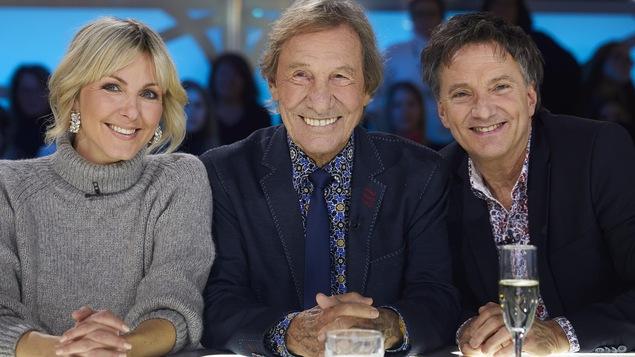 Véroniqiue Cloutier, Jean-Pierre Ferland et Françis Reddy sur le plateau des Enfants de la télé.