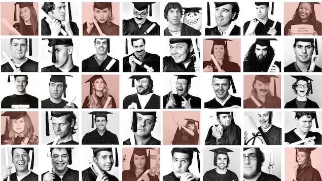 Une mosaique de différents diplomés de l'école nationale de l'humour au fil du temps.
