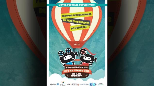 L'affiche de l'événement, sur fond bleu, avec un ballon rayé rouge et blanc